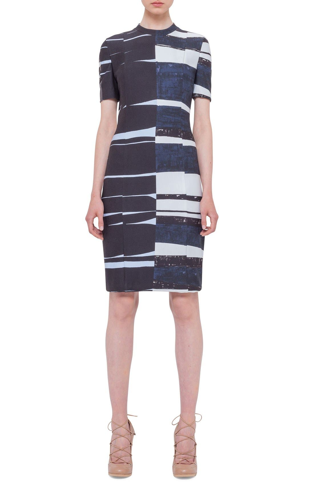 Alternate Image 2  - Akris punto Print Short Sleeve Sheath Dress