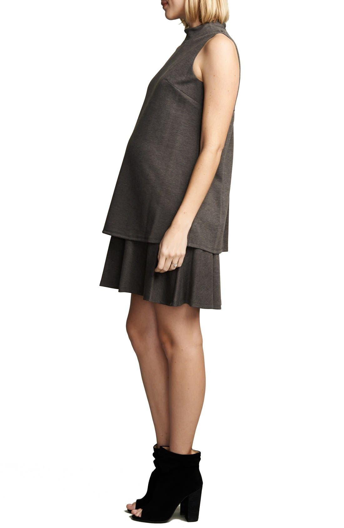'Lucy' Maternity Dress,                             Alternate thumbnail 3, color,                             Heather Charcoal