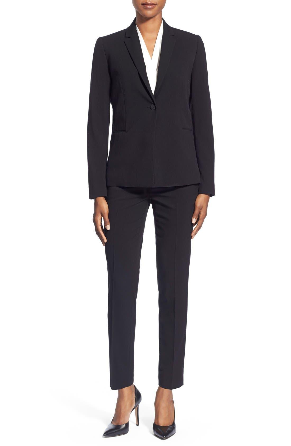 Jolie Stretch Woven Suit Jacket,                             Alternate thumbnail 2, color,                             Black