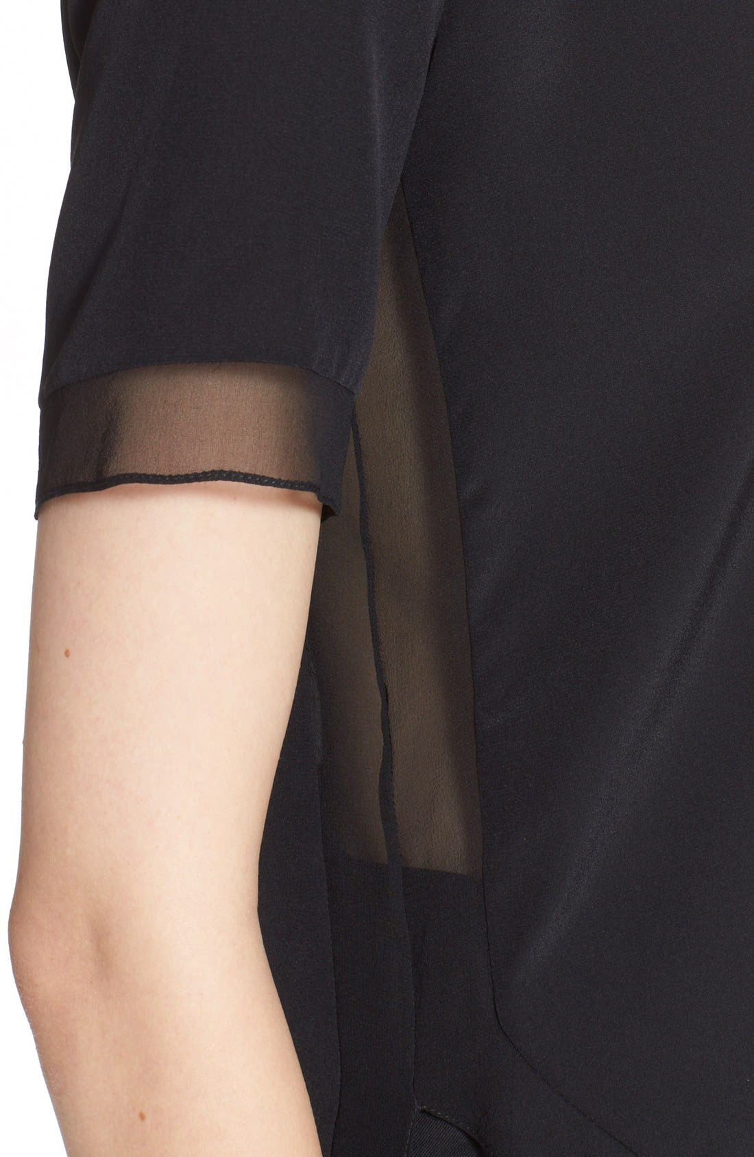 Alternate Image 6  - Prabal Gurung Short Sleeve Keyhole Silk Blouse