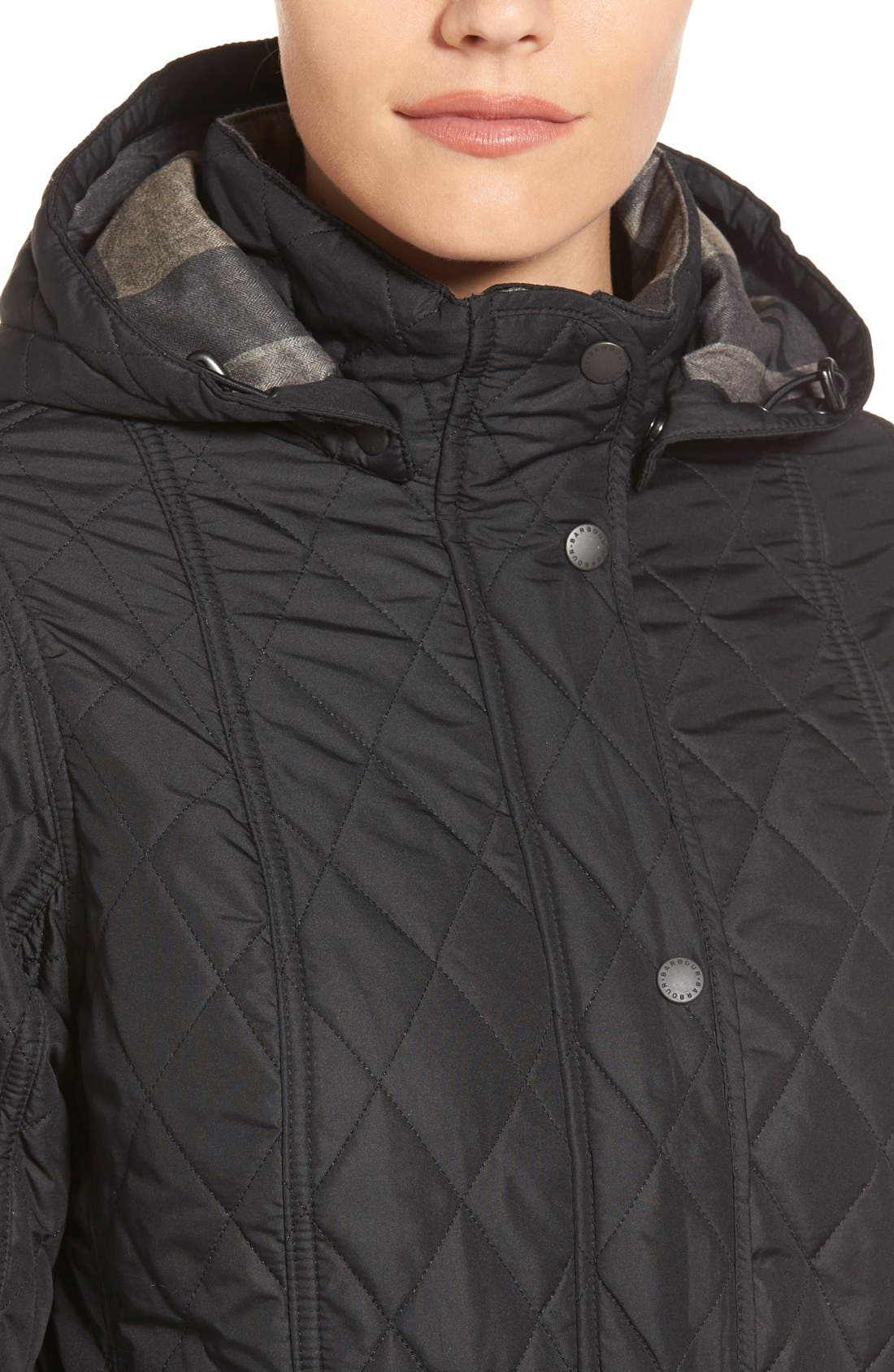 'Millfire' Hooded Quilted Jacket,                             Alternate thumbnail 4, color,                             Black