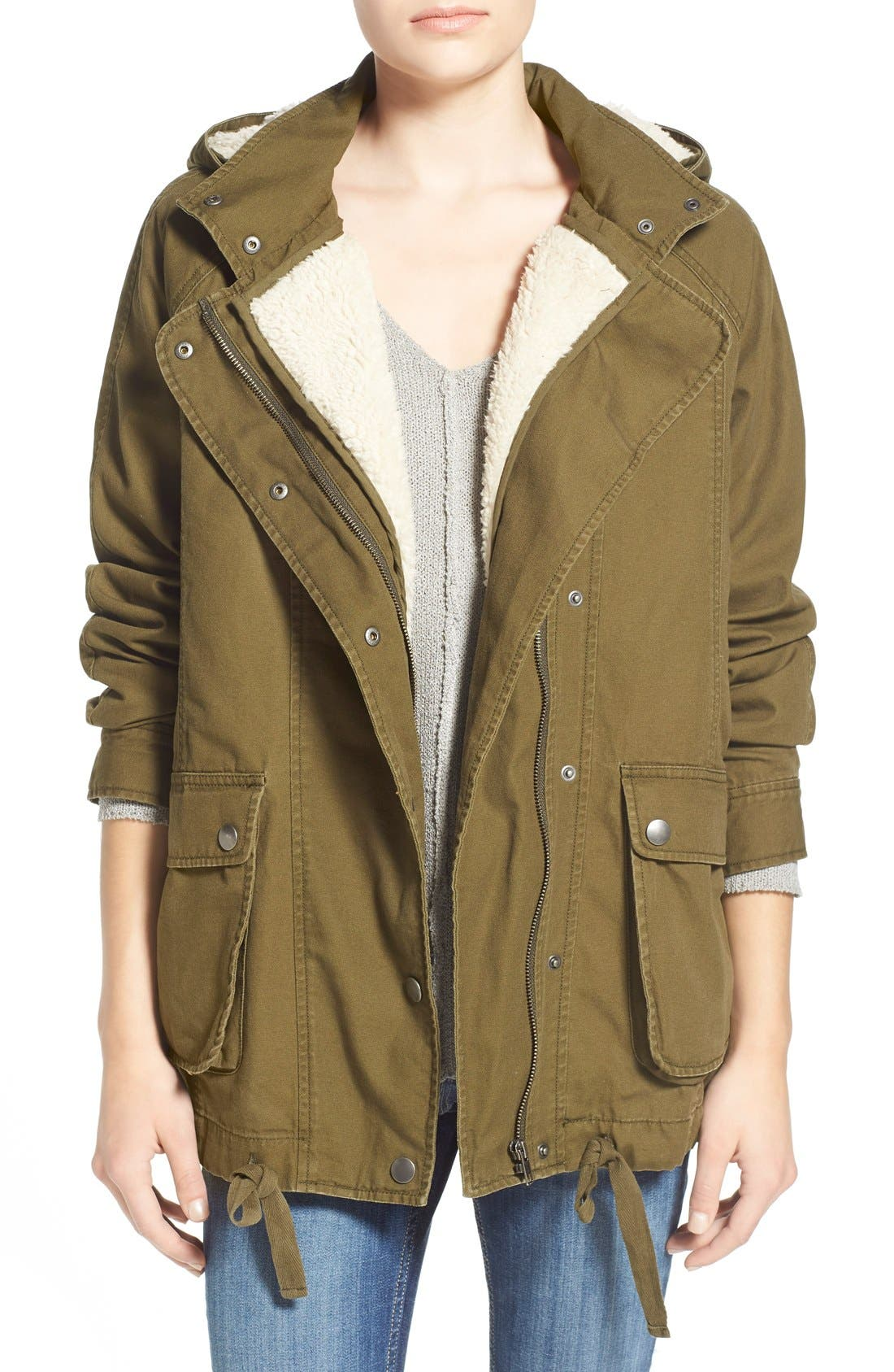 Main Image - BP. Faux Shearling Lined Slouchy Jacket