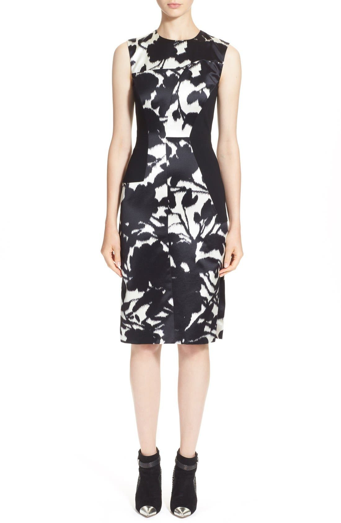 Alternate Image 1 Selected - Prabal Gurung Floral Print Sleeveless Duchesse Satin Sheath Dress