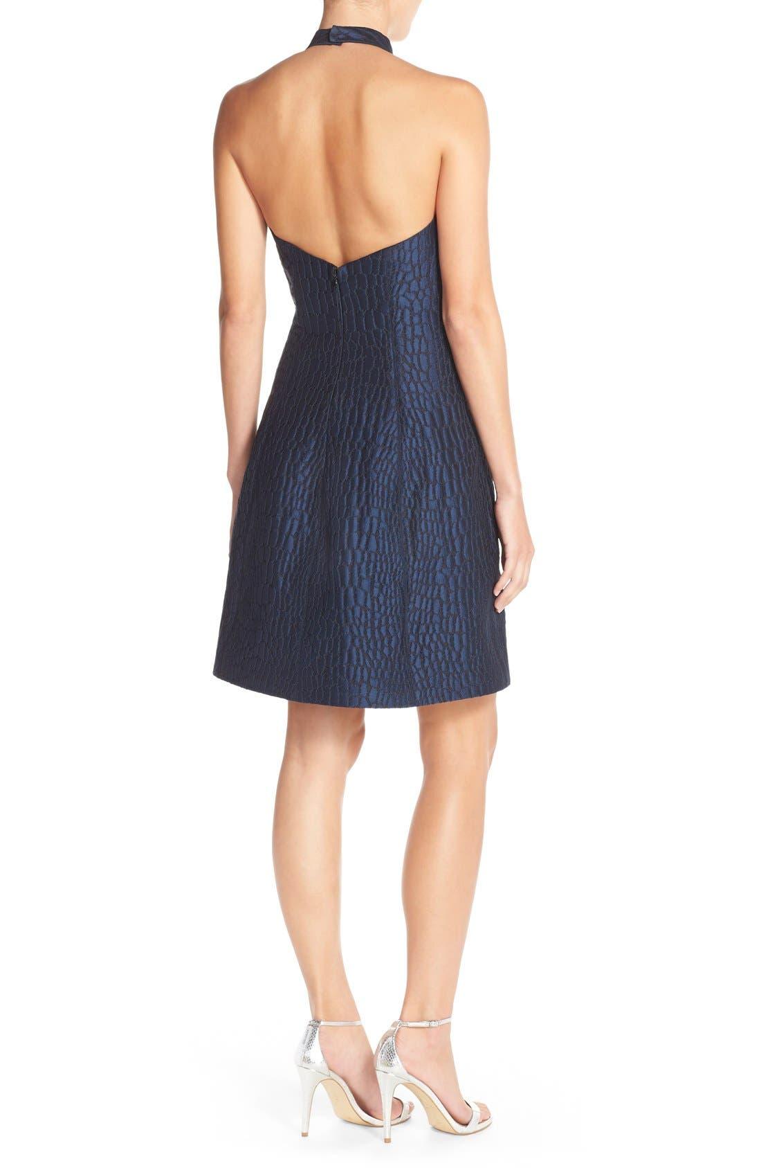 Alternate Image 2  - Halston Heritage Halter Jacquard Fit & Flare Dress