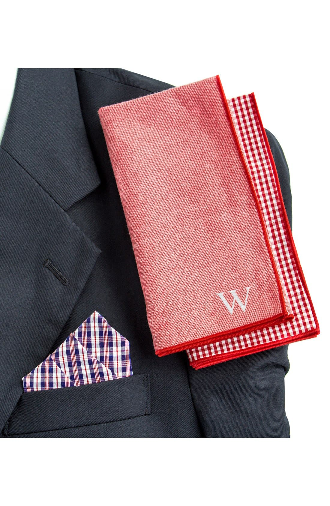 Set of 3 Monogram Pocket Squares,                             Alternate thumbnail 2, color,