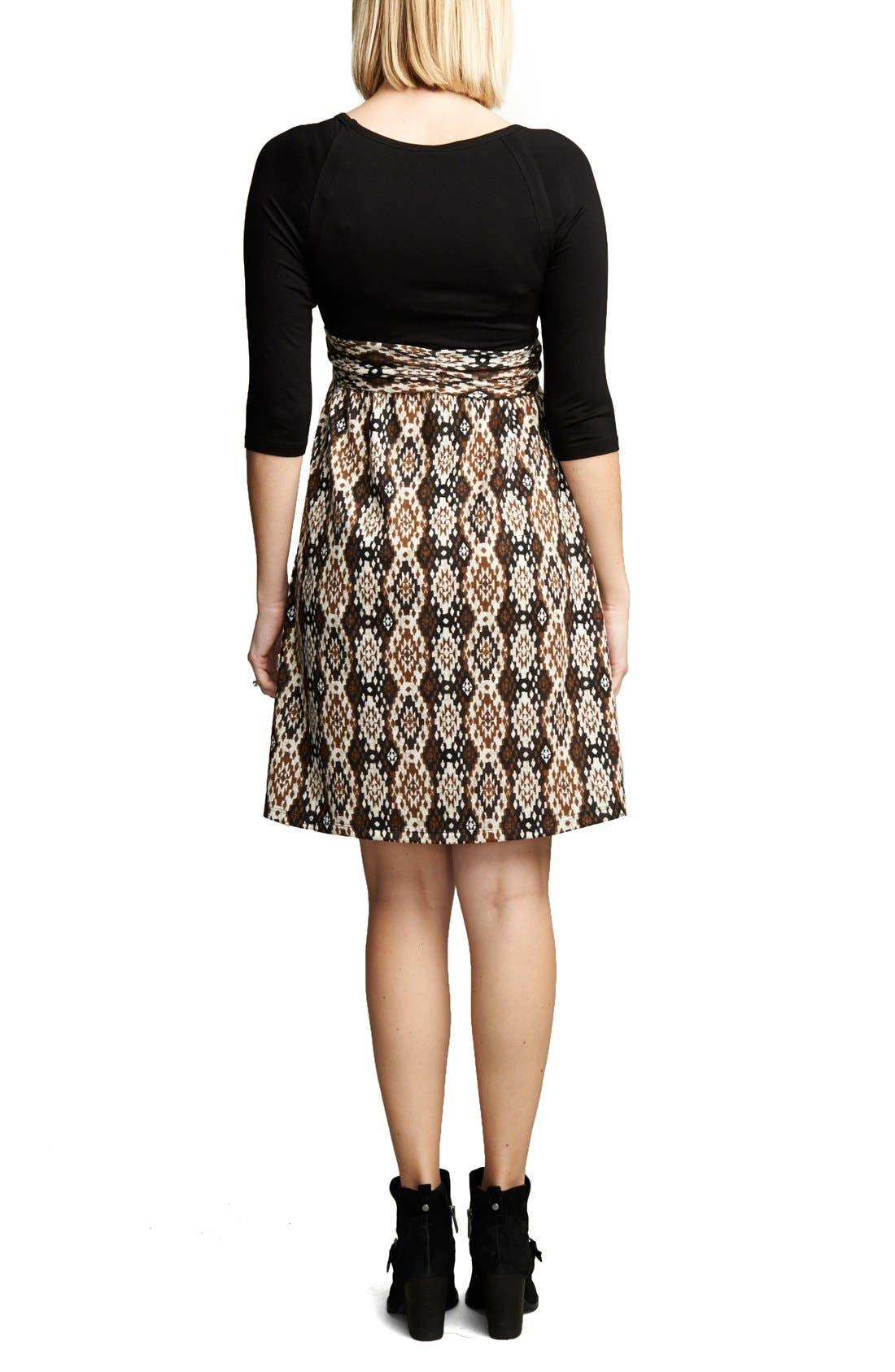 Ikat Print Tie Front Dress,                             Alternate thumbnail 2, color,                             Black/Ikat Print