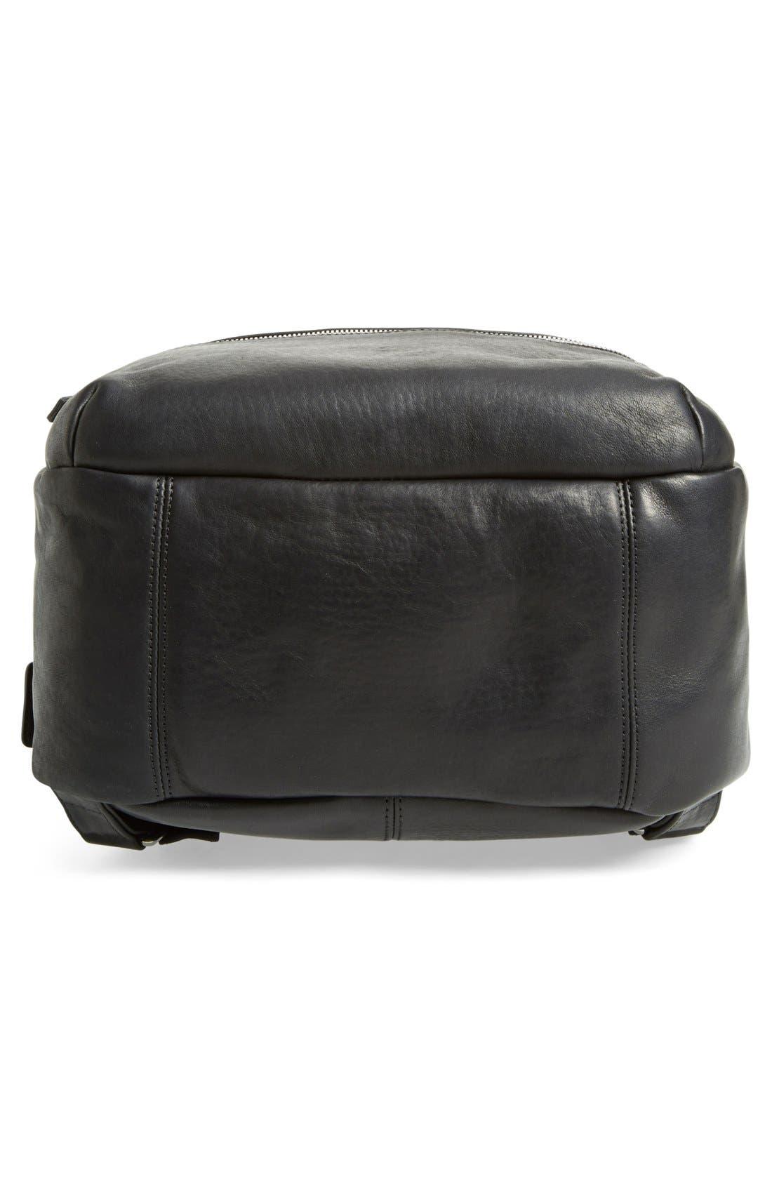 Runwell Leather Laptop Backpack,                             Alternate thumbnail 6, color,                             Black