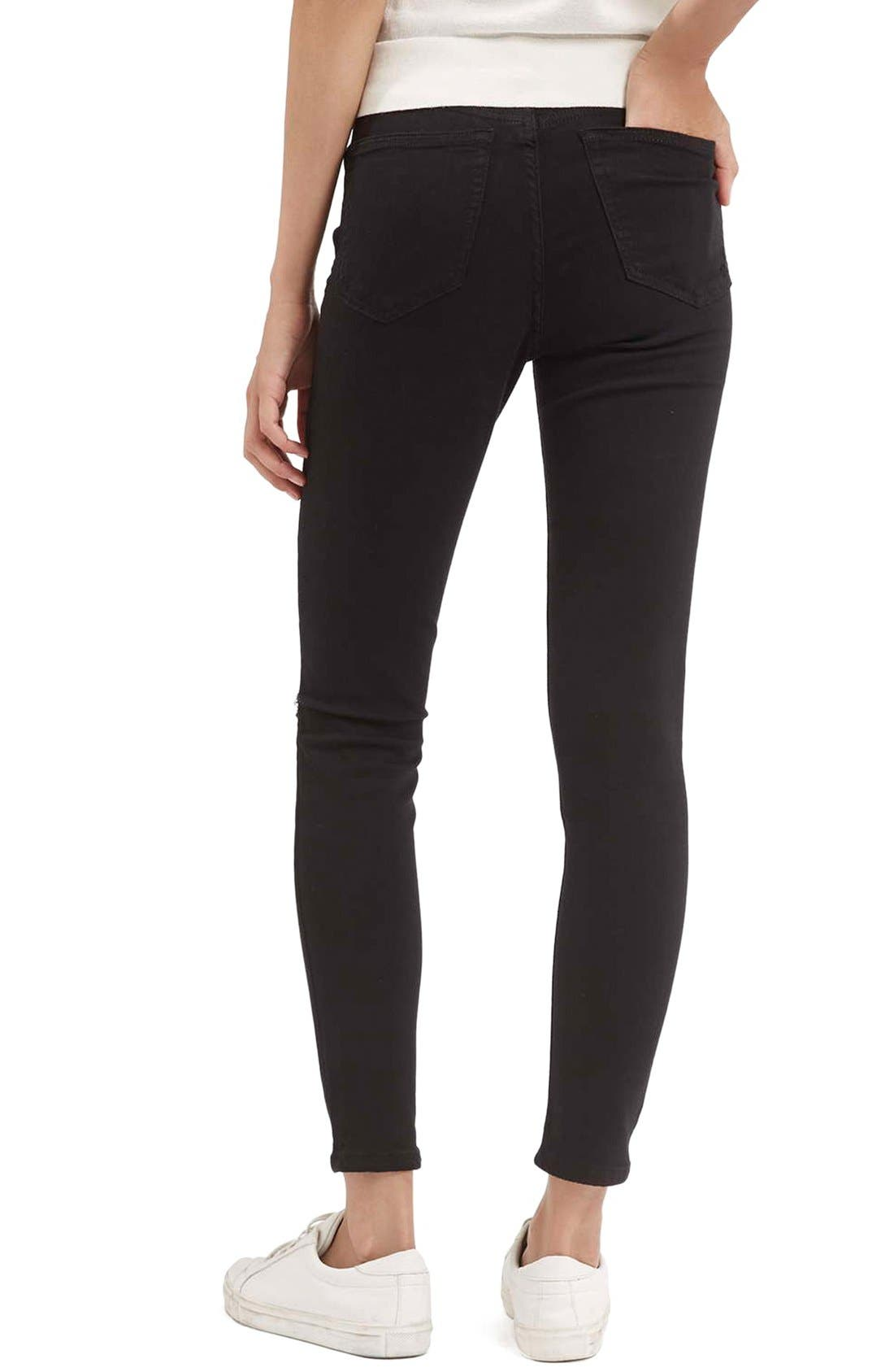 Moto 'Jamie' Ripped Crop Skinny Jeans,                             Alternate thumbnail 3, color,                             Black