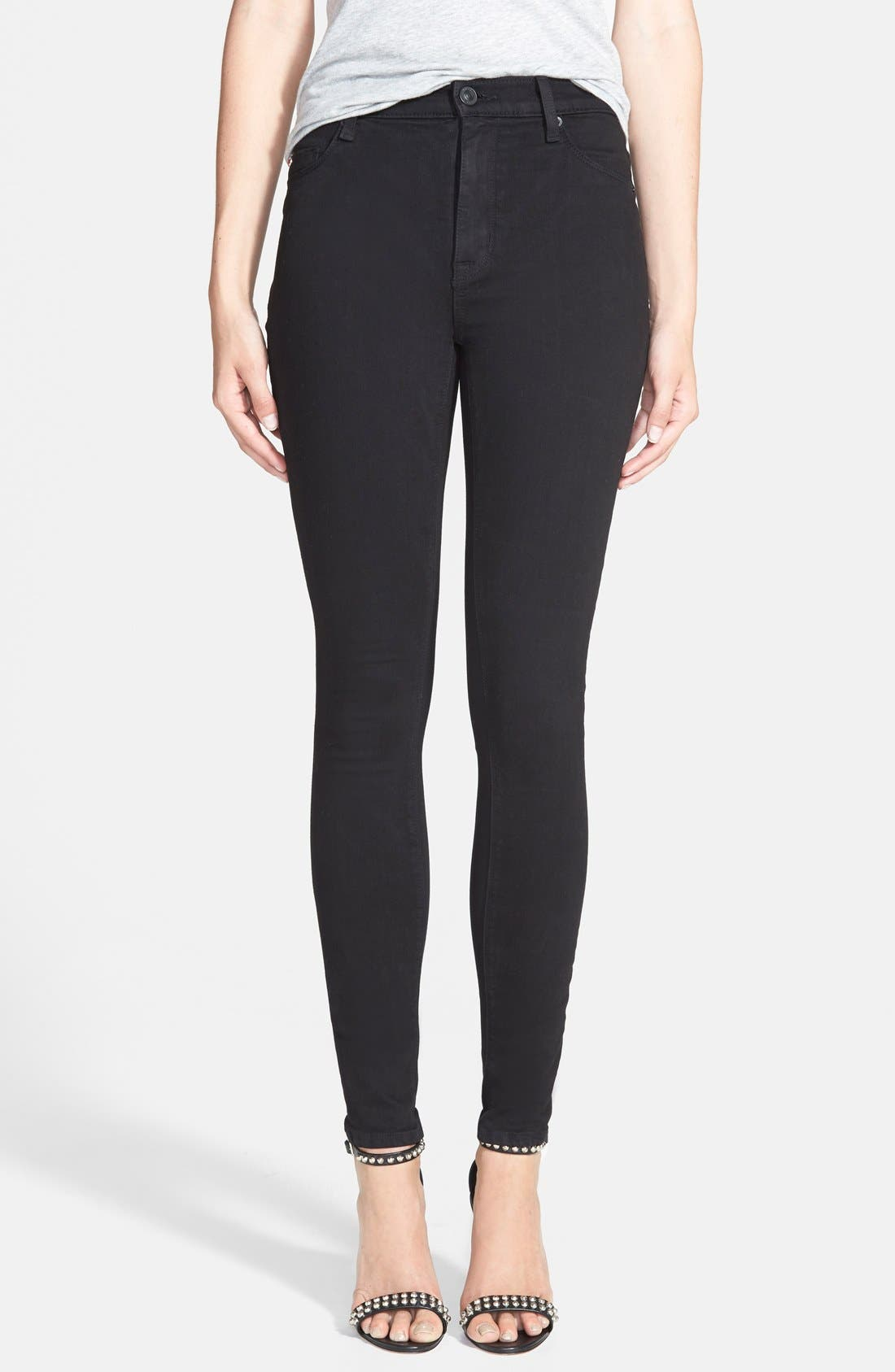 Barbara High Waist Skinny Jeans,                         Main,                         color, Black