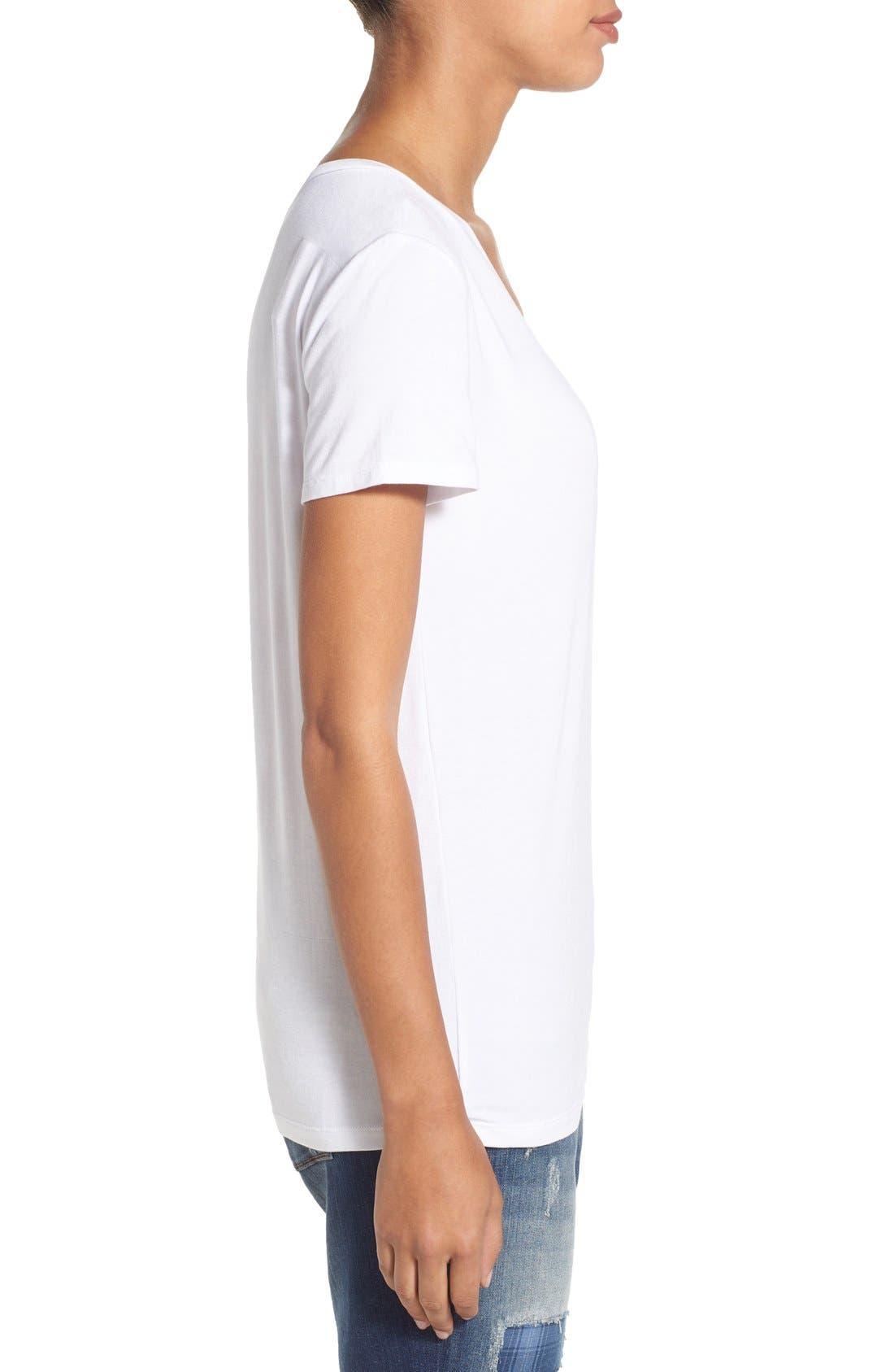 Modal Jersey V-Neck Tee,                             Alternate thumbnail 3, color,                             White