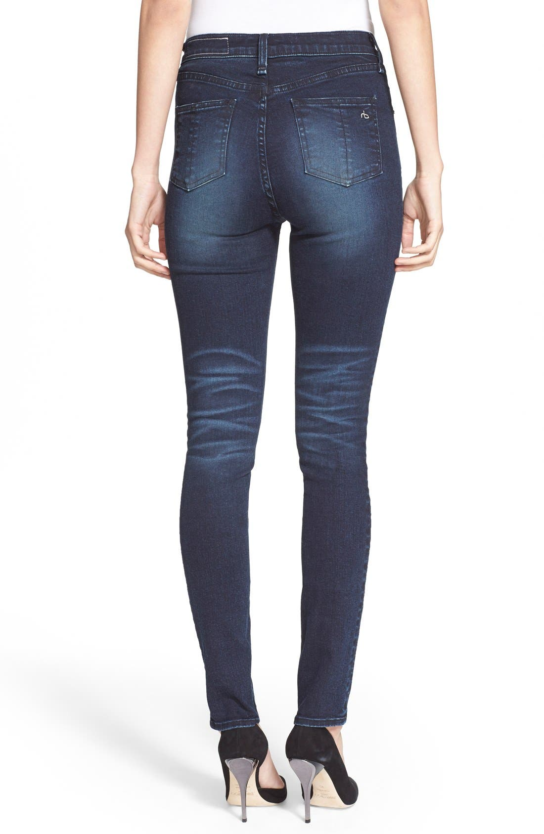 Alternate Image 2  - rag & bone/JEAN High Rise Skinny Jeans (St Germain)
