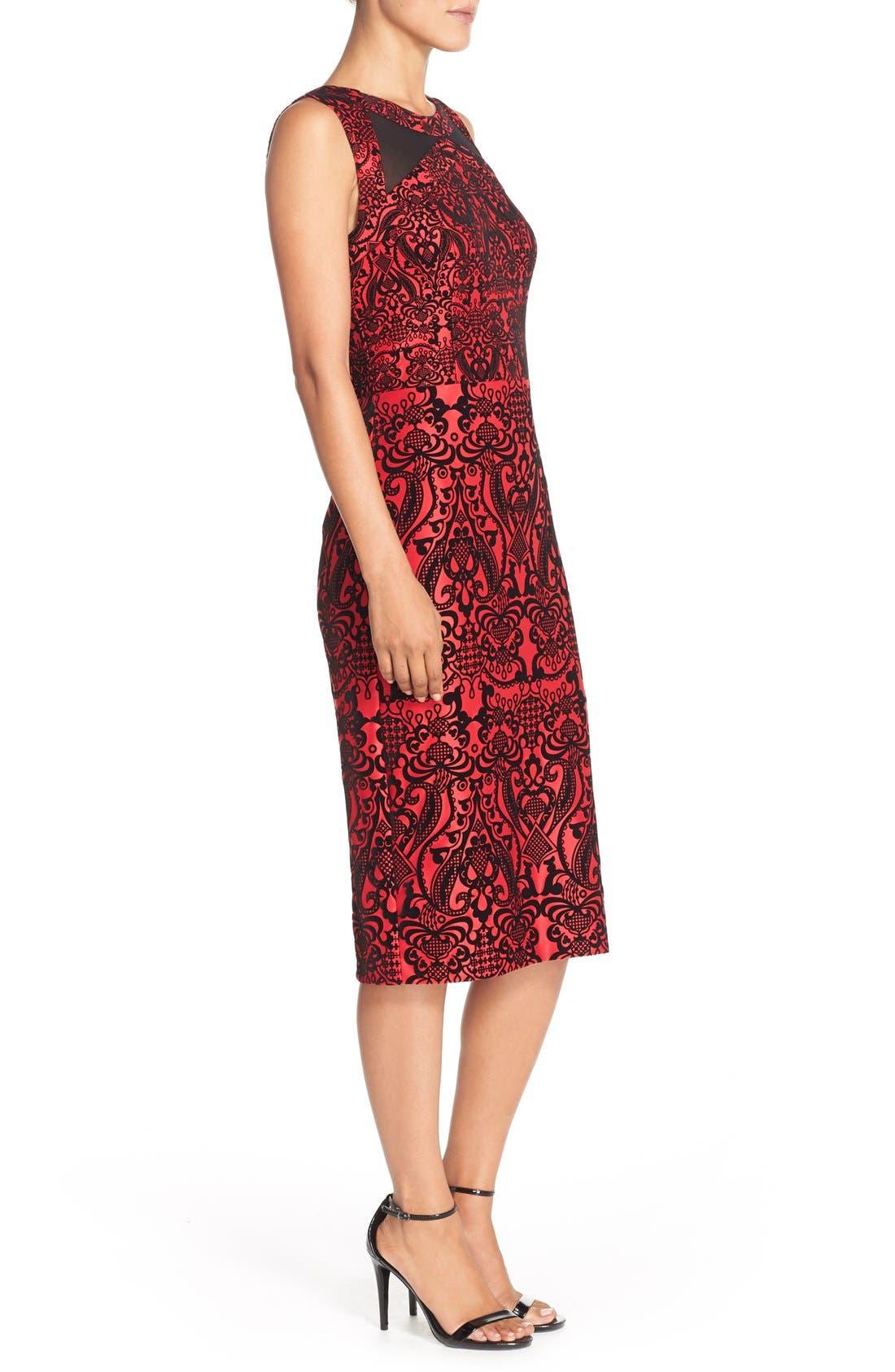 Flecked Scuba Sheath Dress,                             Alternate thumbnail 3, color,                             Black/ Red