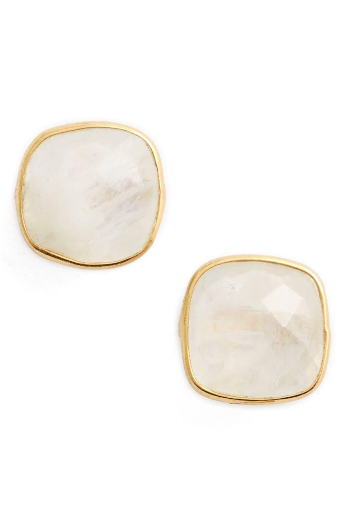 Semiprecious Stone Stud Earrings,                         Main,                         color, Gold/ Moonstone