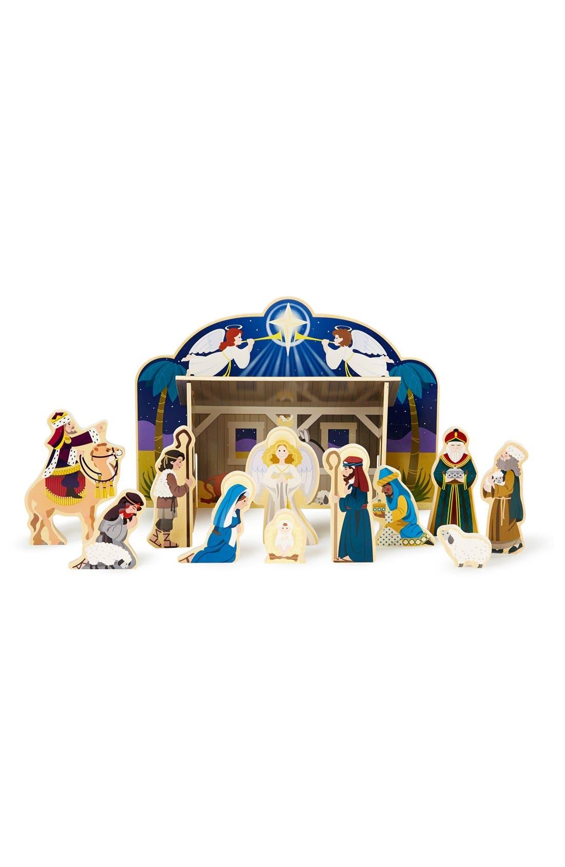 Wooden Nativity Set,                             Main thumbnail 1, color,                             Brown