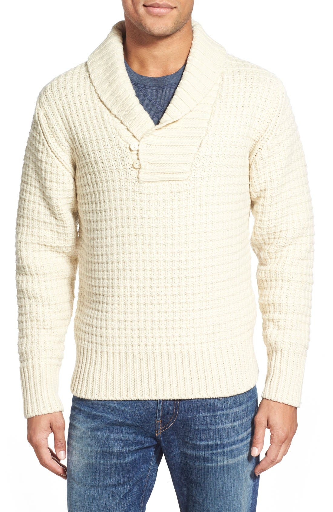 Shawl Collar Knit Pullover,                             Main thumbnail 1, color,                             Off White