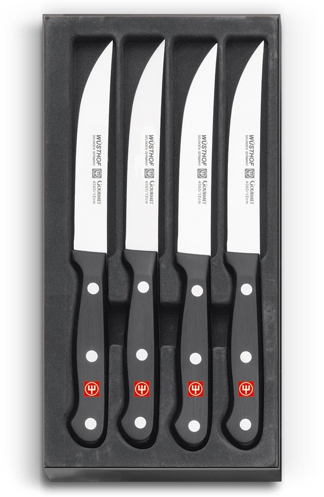 'Gourmet' 4-Piece Steak Knife Set,                             Main thumbnail 1, color,                             Black