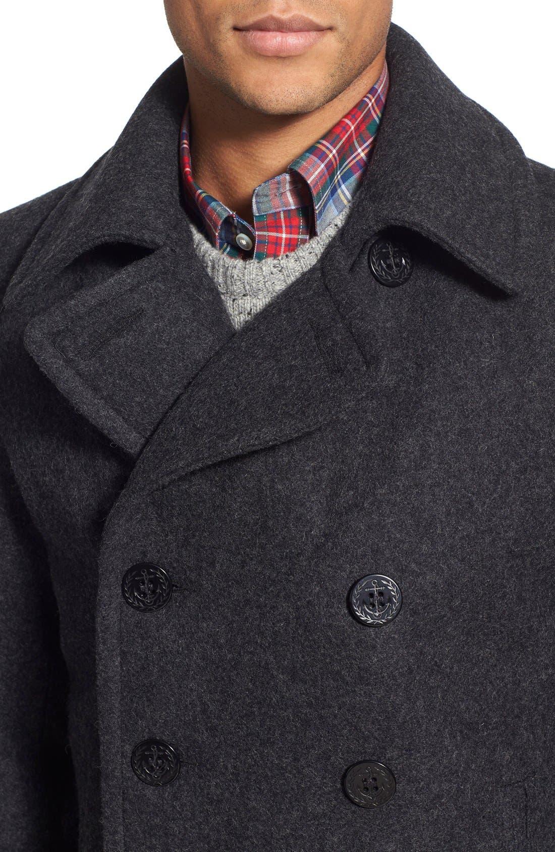 Slim Fit Wool Blend Peacoat,                             Alternate thumbnail 4, color,                             Dark Oxford Grey