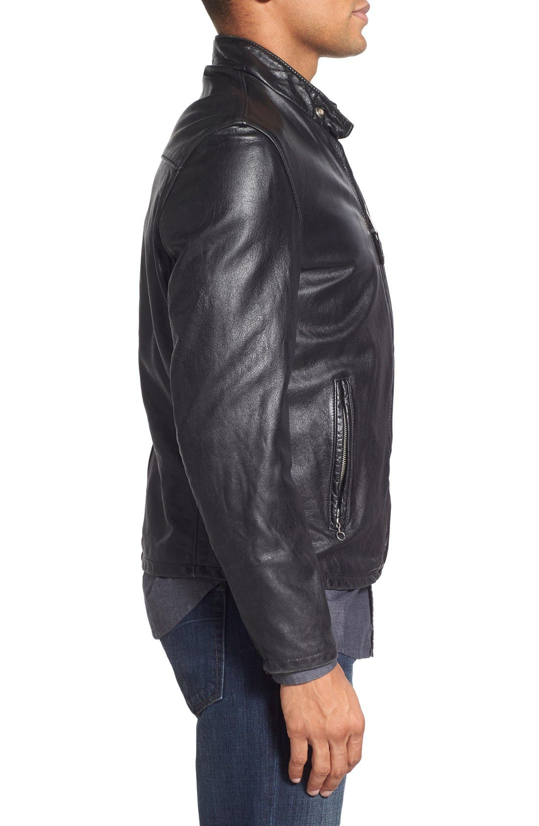 Café Racer Hand Vintaged Cowhide Leather Jacket,                             Alternate thumbnail 3, color,                             Black