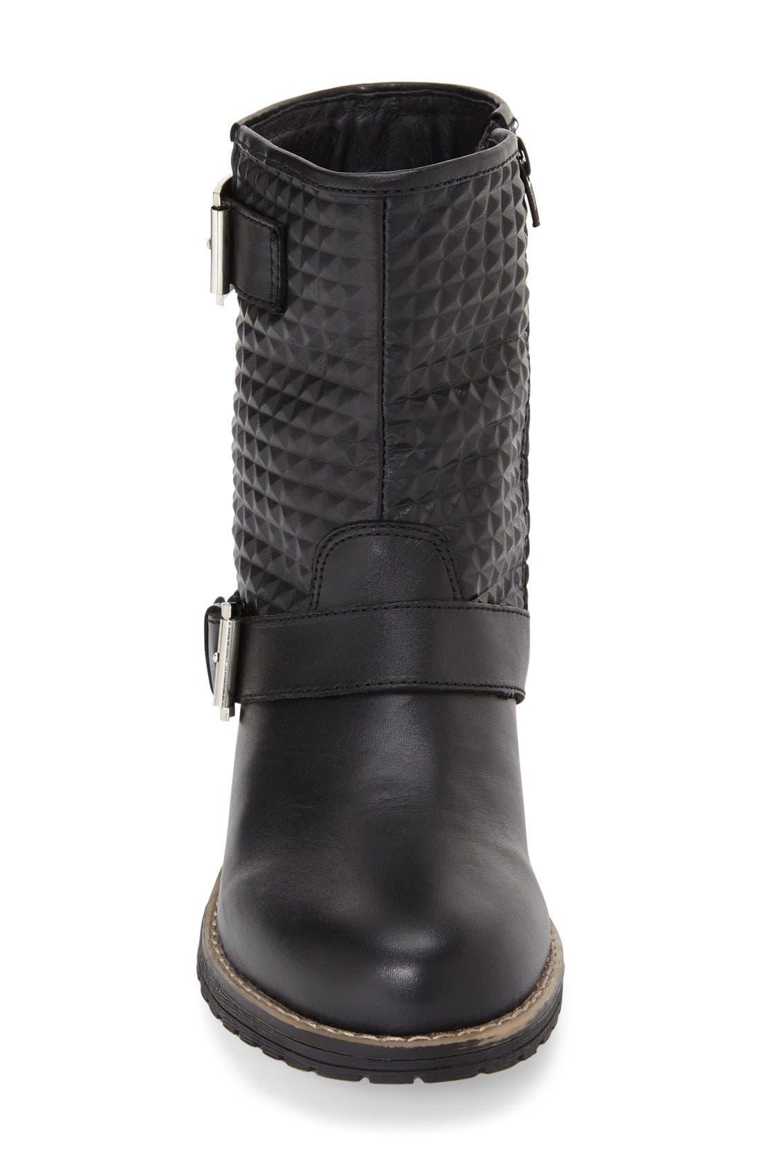 'Granada' Waterproof Pyramid Studded Boot,                             Alternate thumbnail 3, color,                             Black