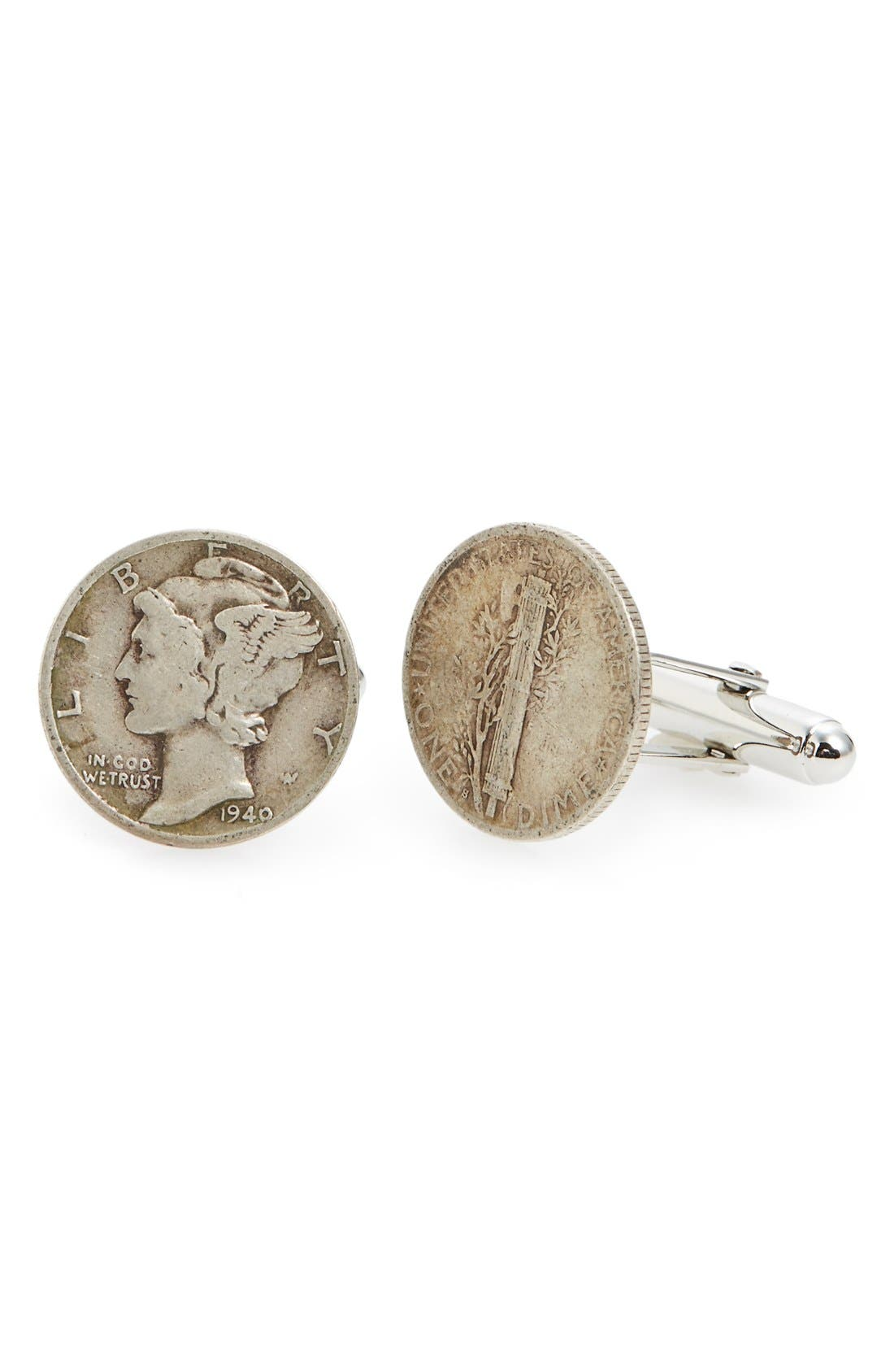 Dime Sterling Silver Cuff Links,                             Main thumbnail 1, color,                             Silver