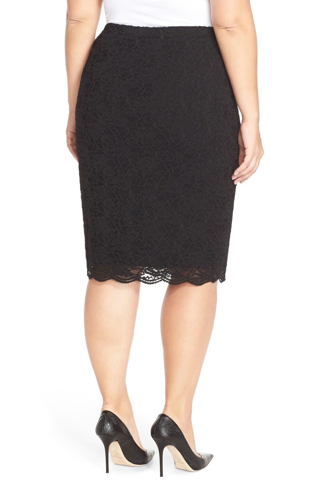 Alternate Image 2  - Vince Camuto Stretch Lace Pencil Skirt (Plus Size)