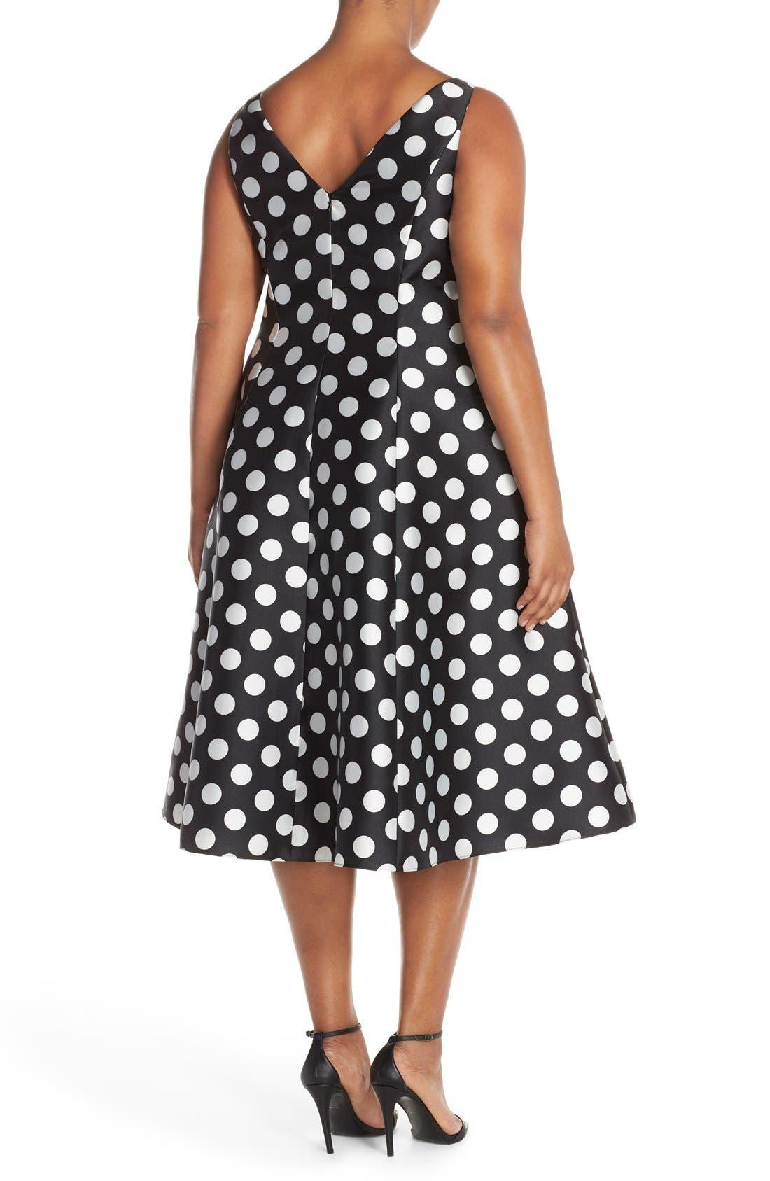 Alternate Image 2  - Adrianna Papell Sleeveless Mikado Fit & Flare Polka Dot Midi Dress (Plus Size)