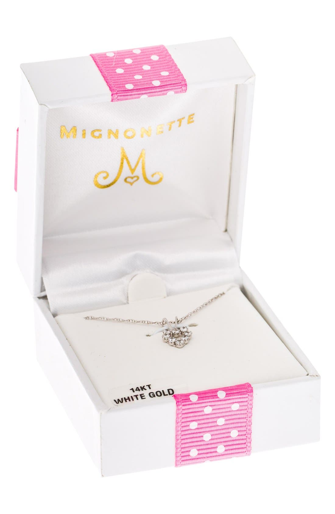 Alternate Image 3  - Mignonette 14k White Gold & Cubic Zirconia Heart Necklace (Girls)