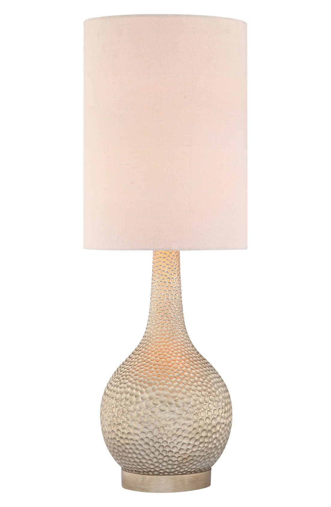 'Champagne Silver' Hammered Metal Table Lamp,                         Main,                         color, Champagne Silver