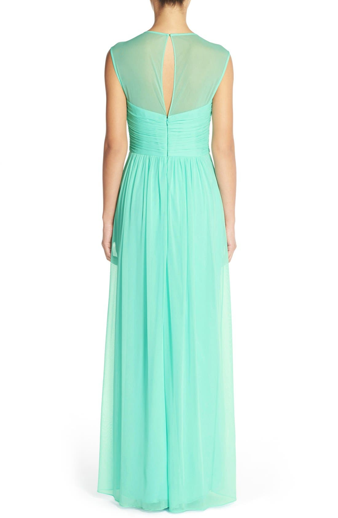 Alternate Image 2  - Alfred Sung Shirred Chiffon Cap Sleeve Gown
