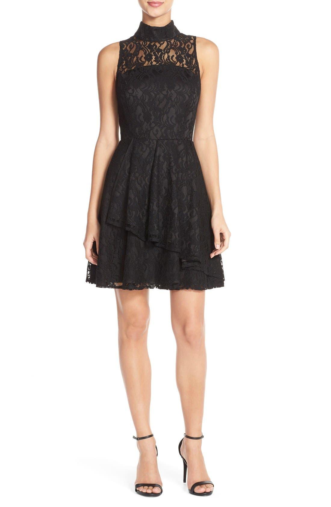 Alternate Image 4  - Adelyn Rae Mock Neck Lace Fit & Flare Dress