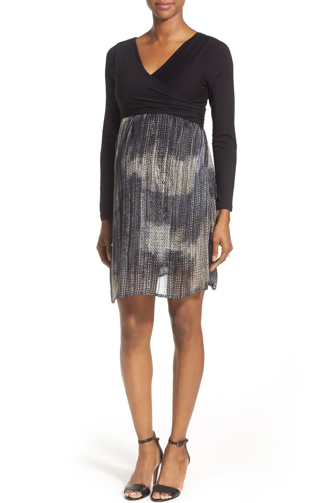 Crossover Maternity Dress,                         Main,                         color, Metallic Lurex Print