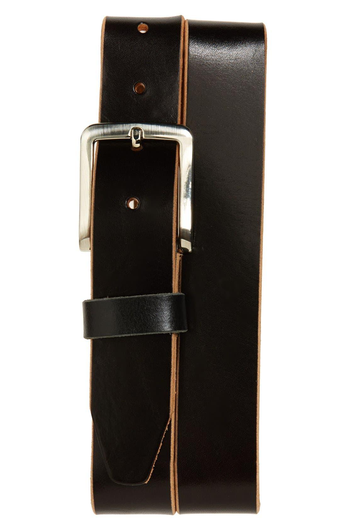 'Oscar' Leather Belt,                             Main thumbnail 1, color,                             Black