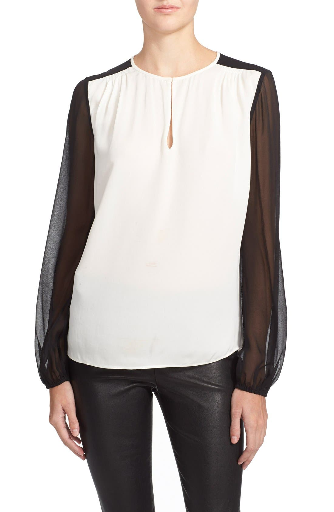 'Nikki' Silk Top,                             Main thumbnail 1, color,                             Ivory/ Black