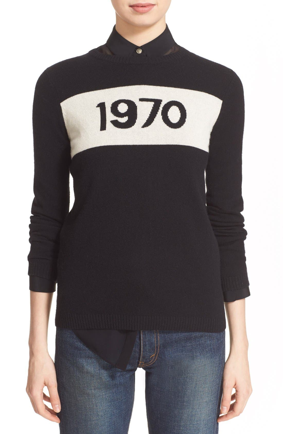 '1970' Wool Sweater,                             Main thumbnail 1, color,                             Black