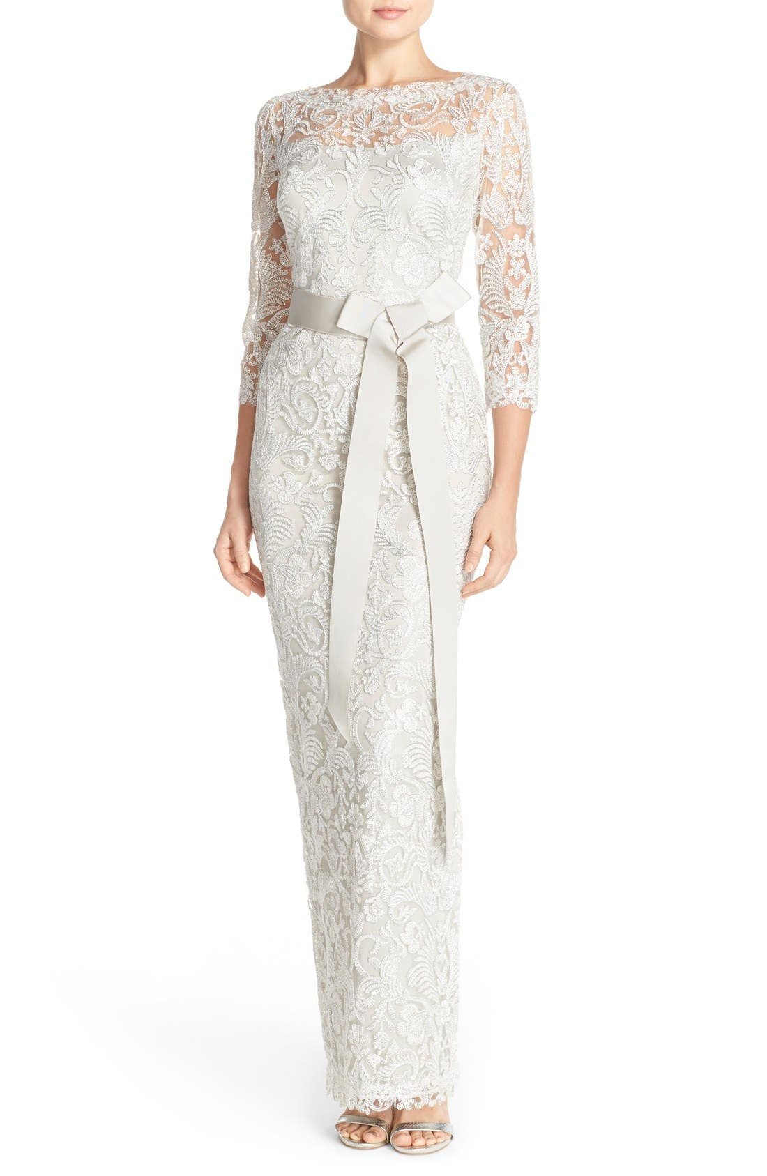 Embroidered Mesh Column Gown,                             Main thumbnail 1, color,                             Silver