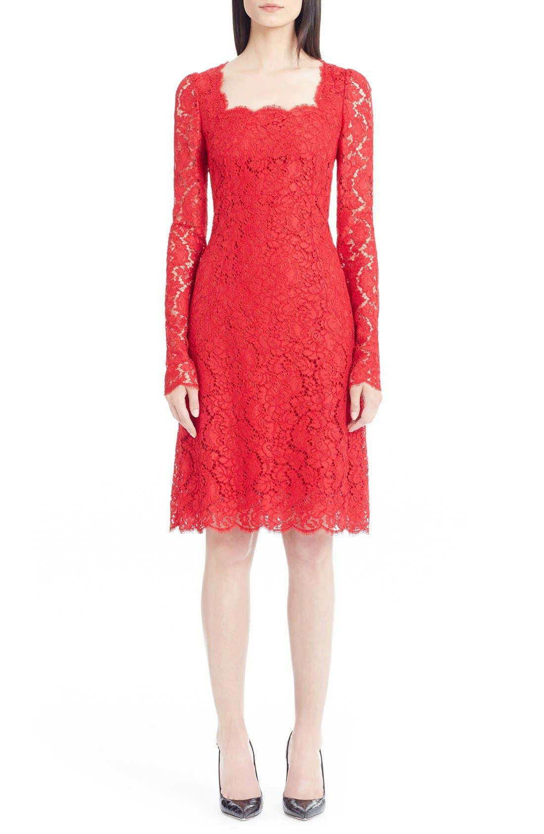 Alternate Image 1 Selected - Dolce&Gabbana Square Neck Lace Dress