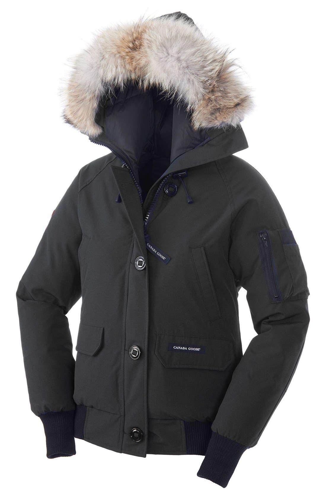'Chilliwack' Regular Fit Down Bomber Jacket with Genuine Coyote Fur,                         Main,                         color, Black