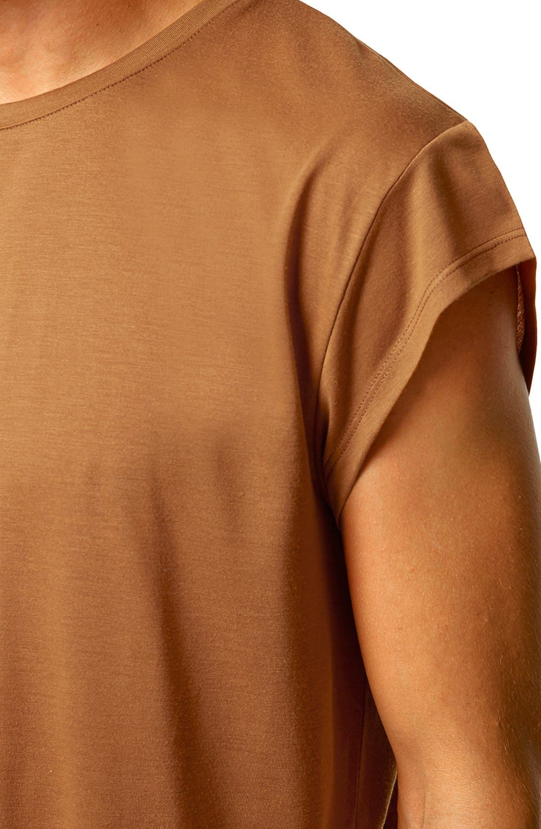 Longline Cap Sleeve T-Shirt,                             Alternate thumbnail 3, color,                             Mustard
