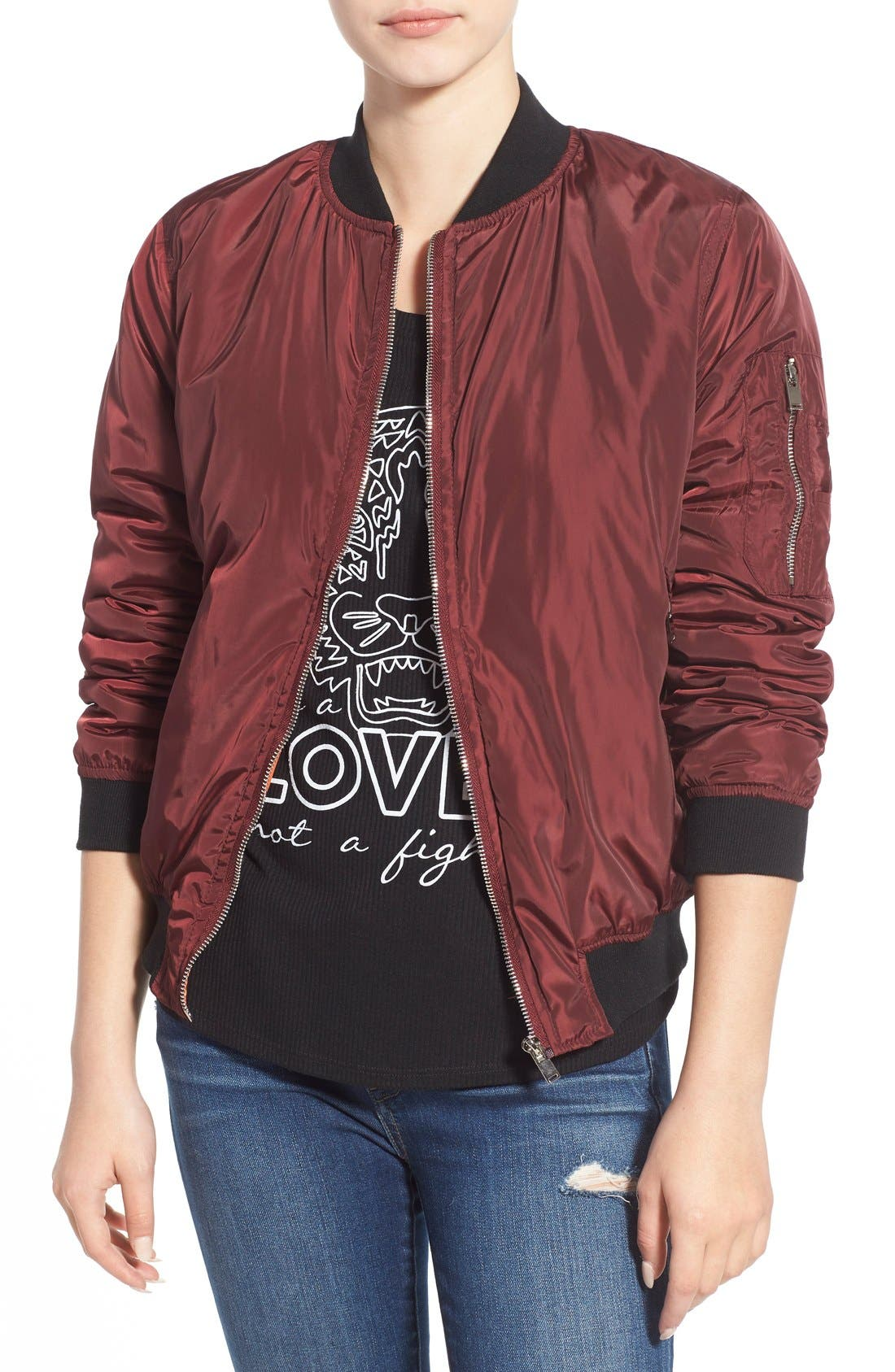 Bomber Jacket,                             Main thumbnail 1, color,                             Oxblood