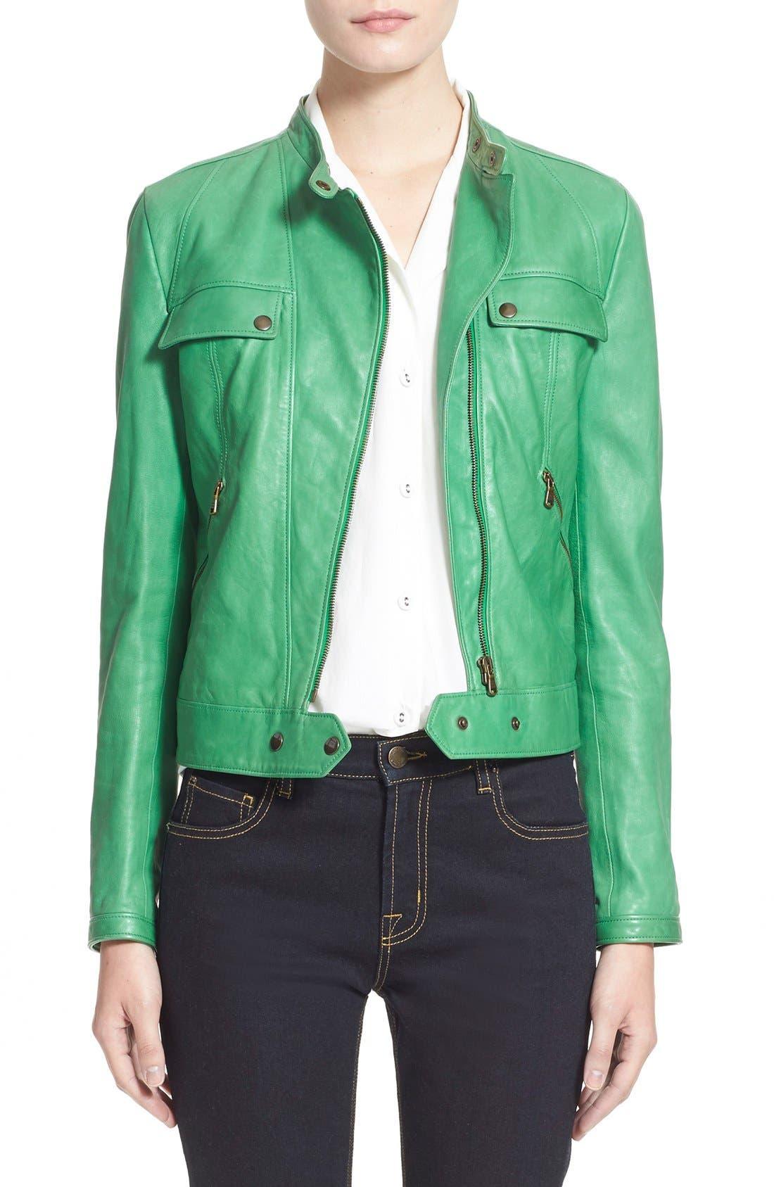 Alternate Image 1 Selected - Tomas Maier Nappa Leather Moto Jacket