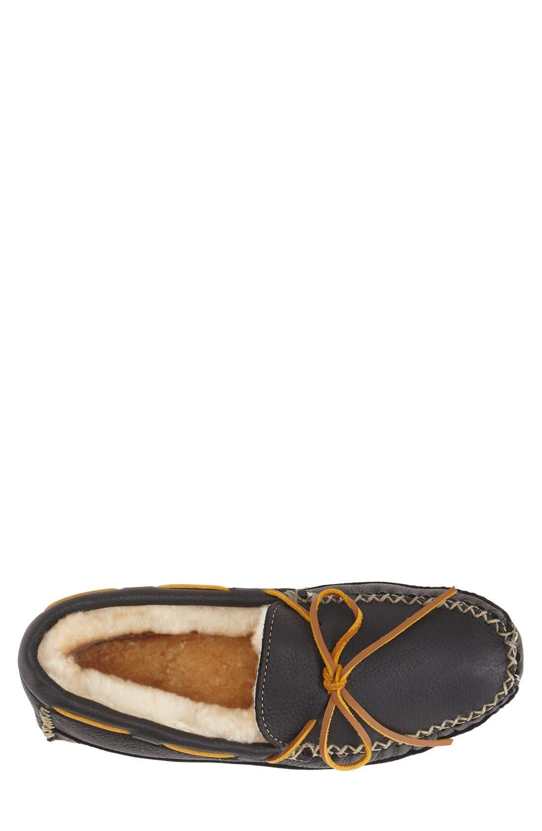 Genuine Shearling Leather Slipper,                             Alternate thumbnail 3, color,                             Black