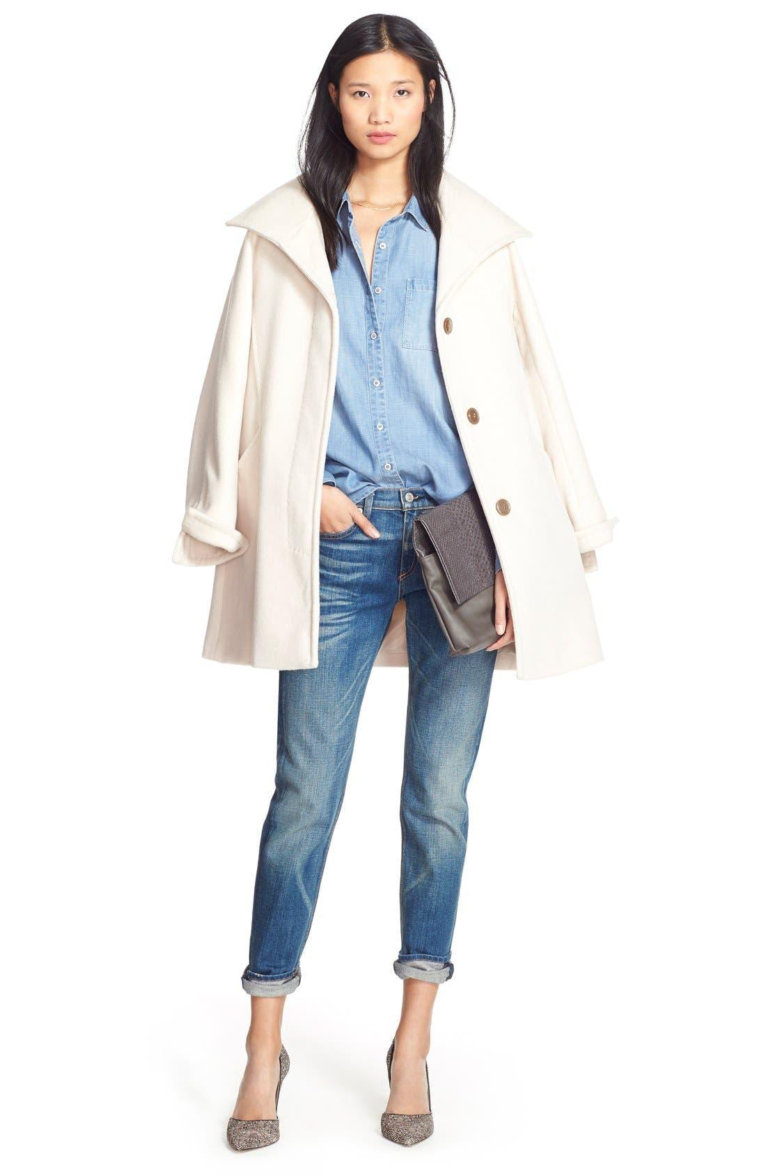 Alternate Image 2  - Ellen Tracy Convertible Collar Kimono Sleeve Coat (Regular & Petite) (Nordstrom Exclusive)