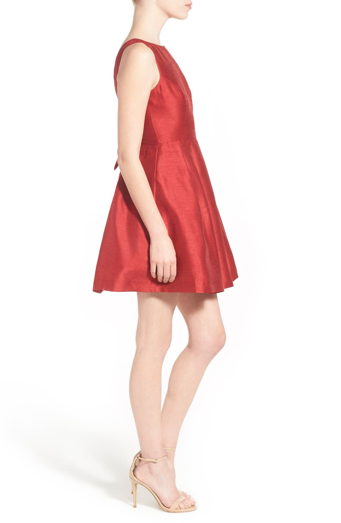 Bow Back Fit & Flare Dress,                             Alternate thumbnail 3, color,                             Dark Red