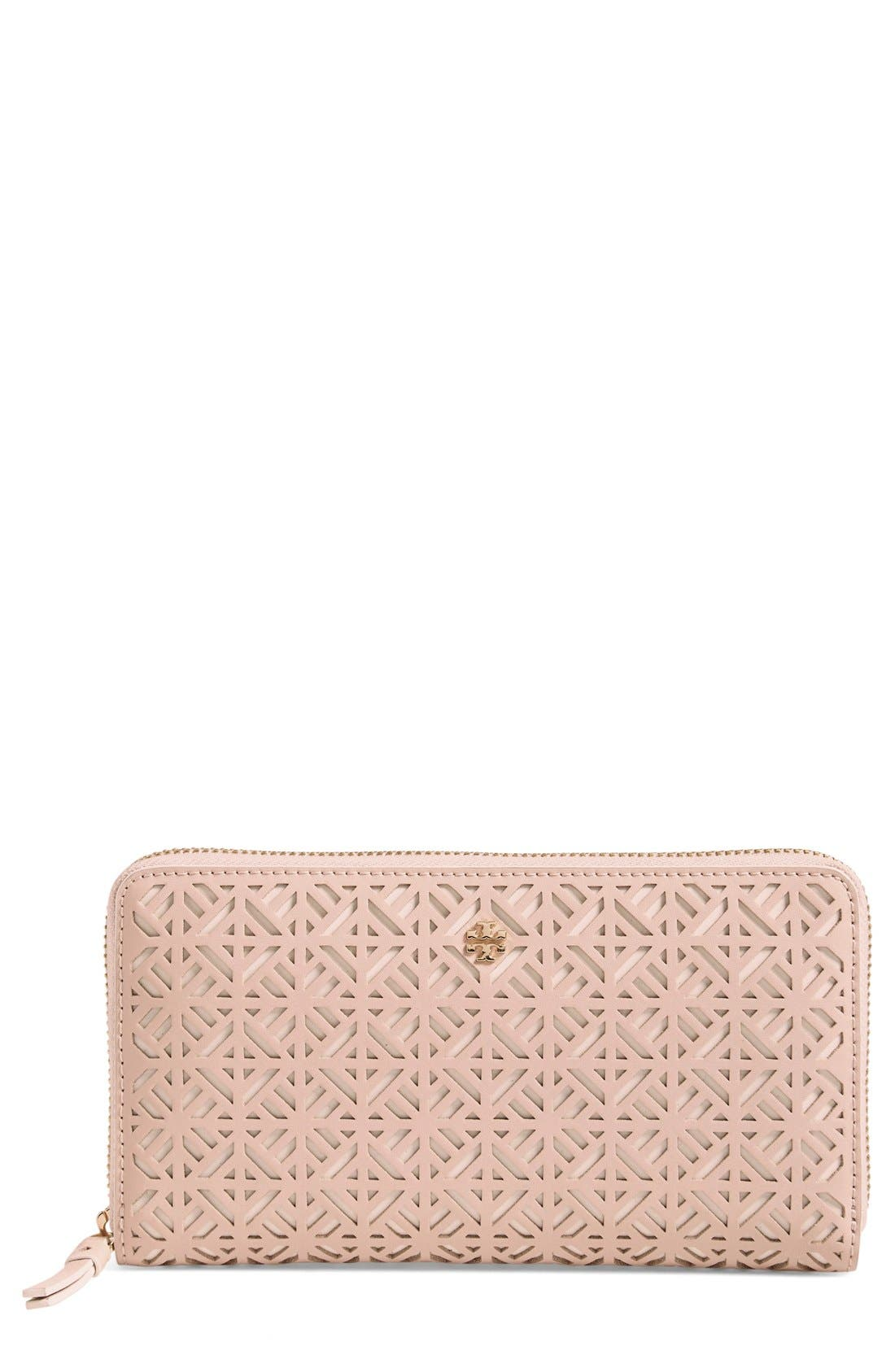 Alternate Image 1 Selected - Tory Burch 'Fret-T' Zip Continental Wallet