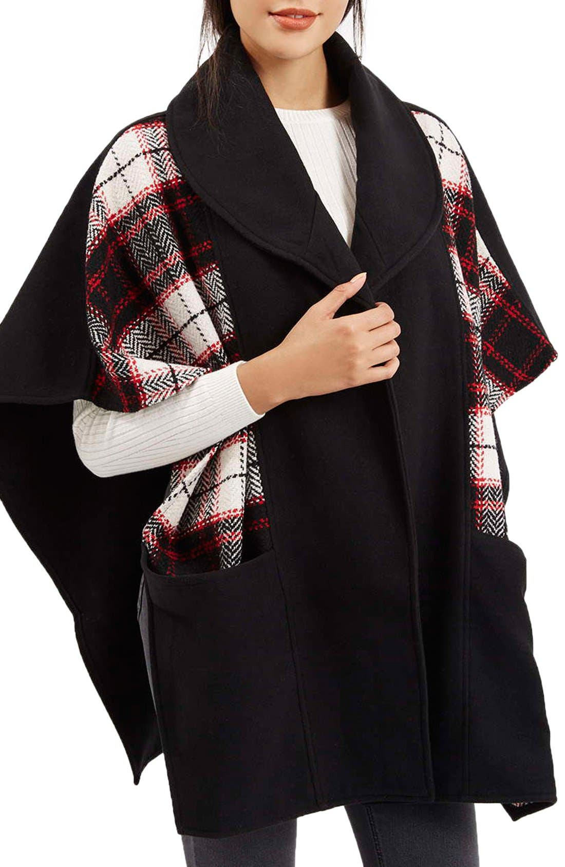 Alternate Image 1 Selected - Topshop Mixed Check Cape