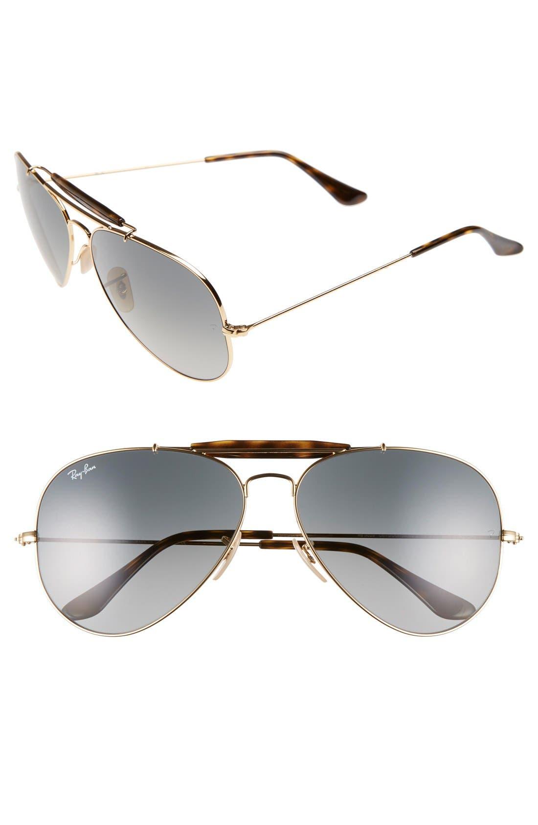 'Outdoorsman II' 62mm Sunglasses,                         Main,                         color, Gold/ Grey