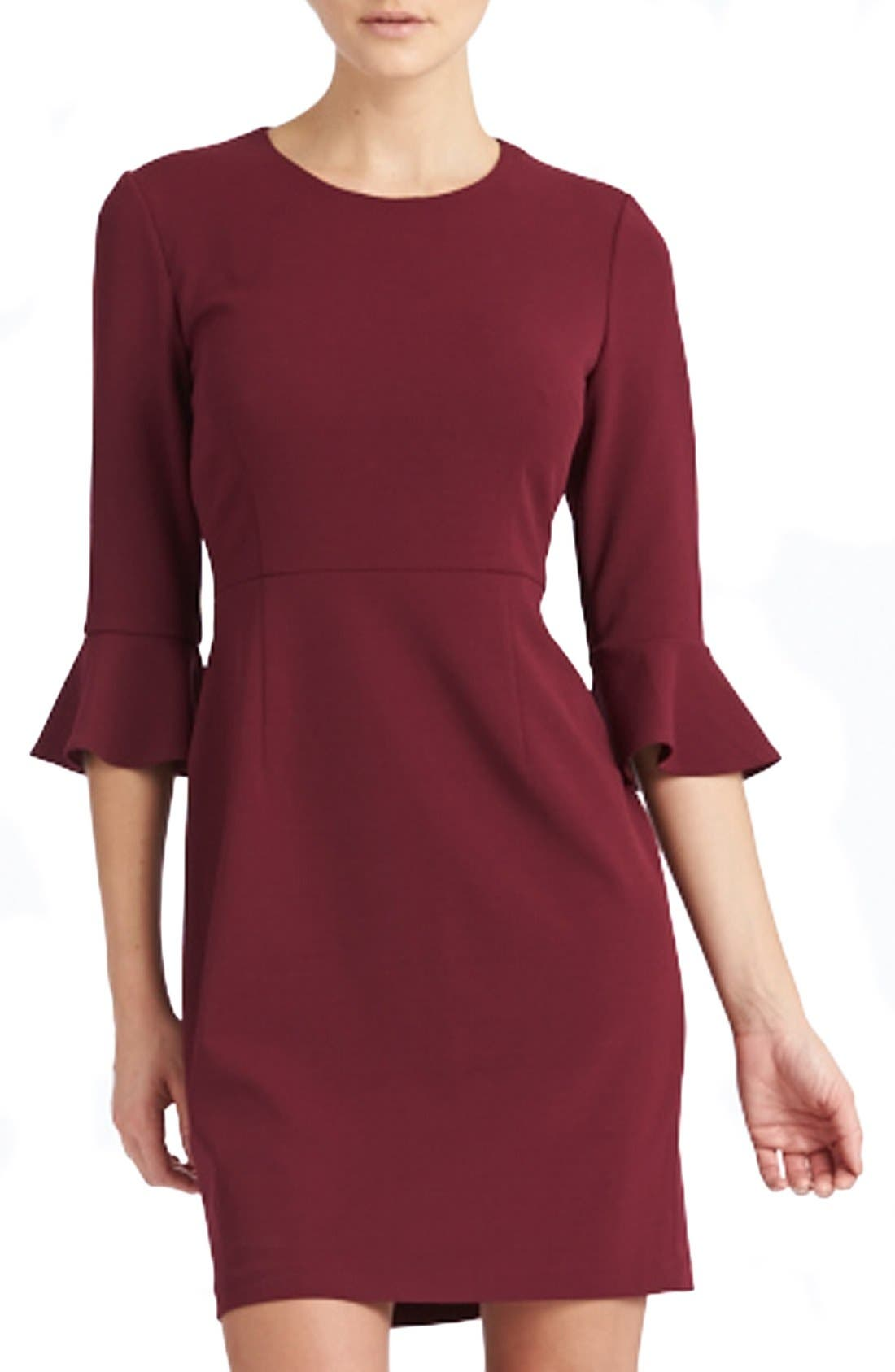 Main Image - Donna Morgan Belle Sleeve Crepe Sheath Dress