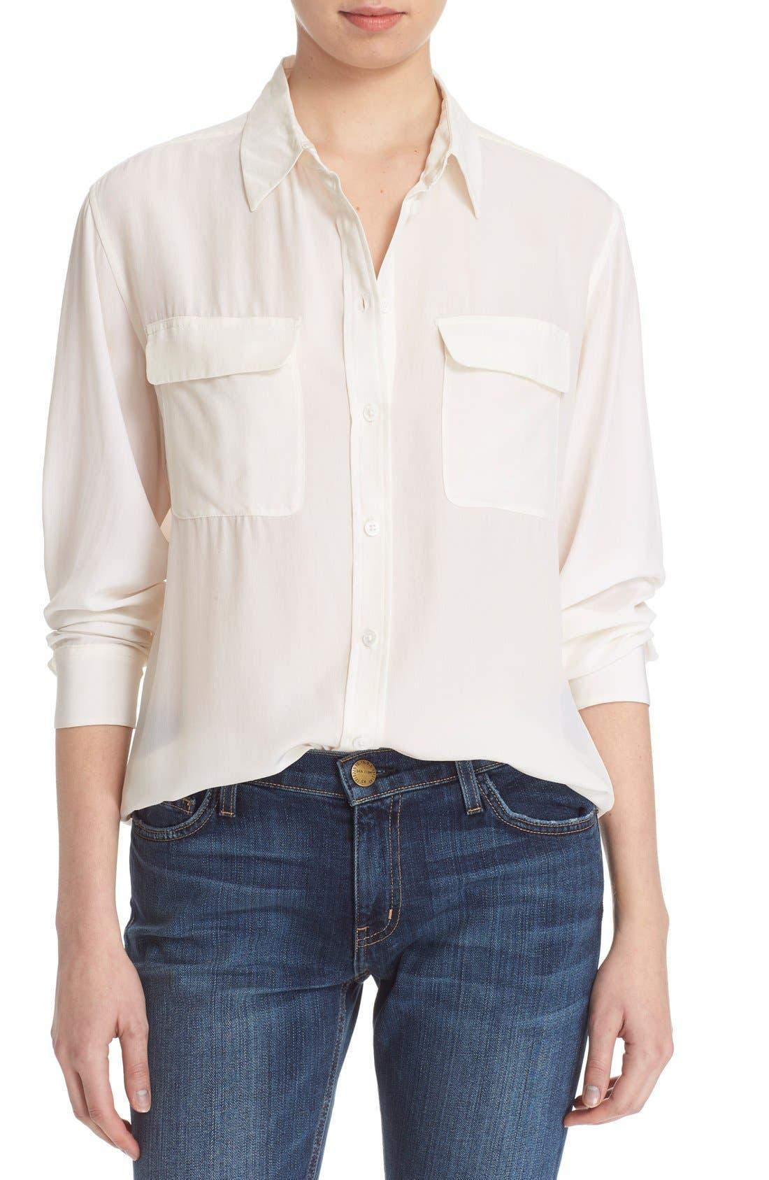 'Signature' Silk Shirt,                             Main thumbnail 1, color,                             Bright White