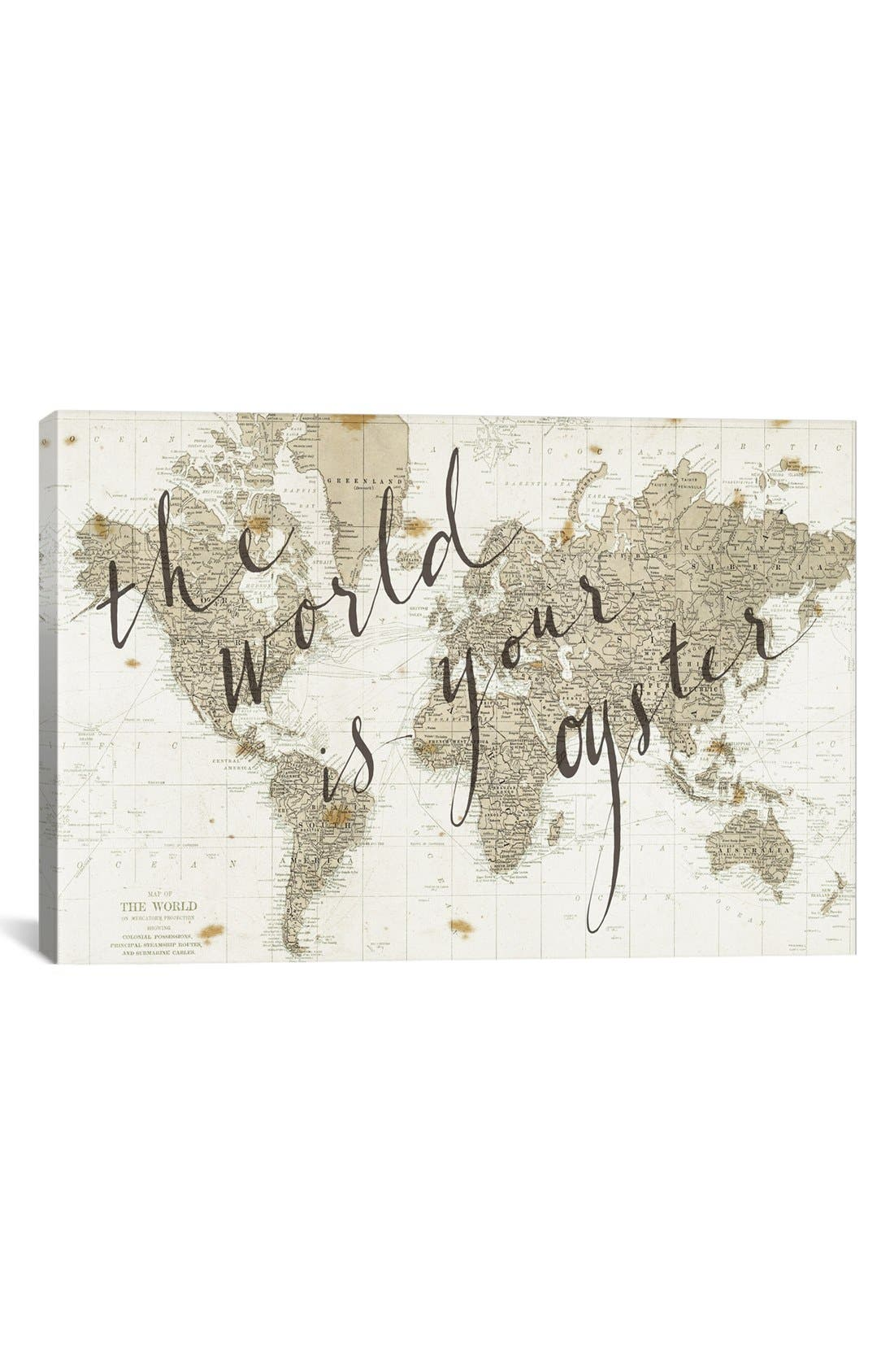 'The World is Your Oyster' Giclée Print Canvas Art,                             Main thumbnail 1, color,                             White