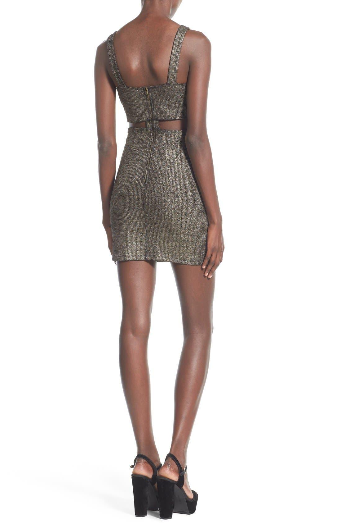 Alternate Image 2  - Soprano Cutout Detail Metallic Body-Con Dress